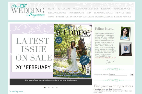Your Kent Wedding Magazine - Wild Rose Photography Front Cover